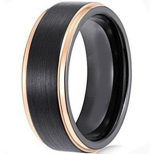*COI Tungsten Carbide Black Gold Tone Step Edges Ring-TG4414