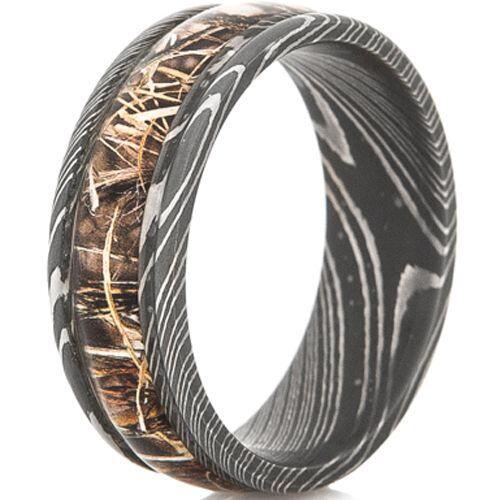 COI Black Tungsten Carbide Damascus Ring With Camo - TG4565