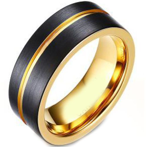 *COI Tungsten Carbide Black Gold Tone Offset Groove Ring-TG4679