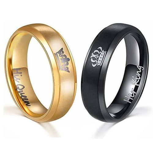 COI Tungsten Carbide Black/Gold Tone King Queen Crown Ring-4713
