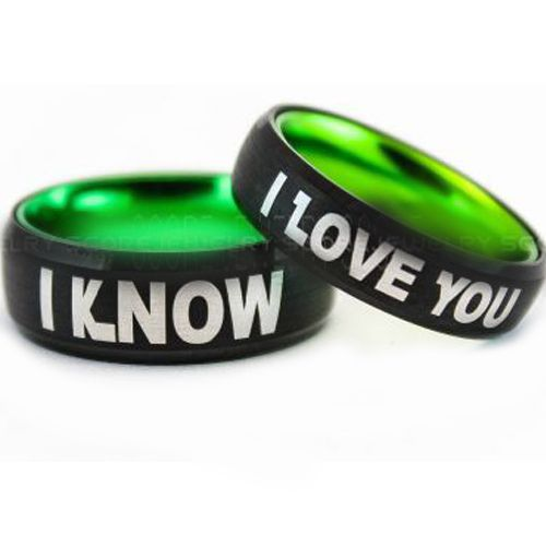 COI Tungsten Carbide Black Green I Know I Love You Beveled Edges Ring-5422
