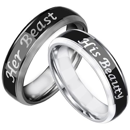*COI Tungsten Carbide Black Silver His Beauty Her Beast Beveled Edges Ring-5440