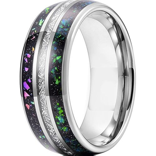 COI Tungsten Carbide Dome Court Ring With Meteorite and Crushed Opal-5626