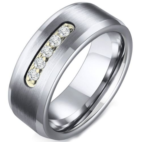 COI Tungsten Carbide Beveled Edges Ring With Cubic Zirconia-5729