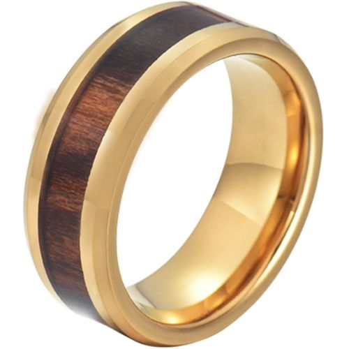 COI Gold Tone Tungsten Carbide Wood Beveled Edges Ring-5776
