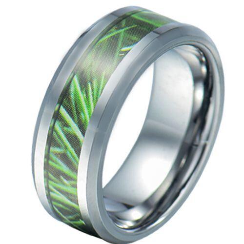 COI Tungsten Carbide Green Camo Beveled Edges Ring-5784
