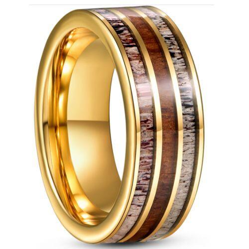 *COI Gold Tone Tungsten Carbide Deer Antler & Wood Pipe Cut Flat Ring-5936