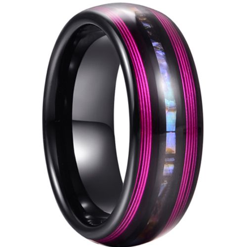 *COI Tungsten Carbide Black Purple Ring With Abalone Shell-5939