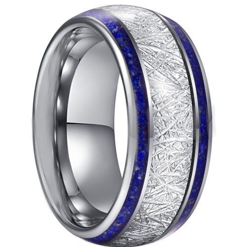 *COI Tungsten Carbide Lapis Lazuli & Meteorite Dome Court Ring-5942