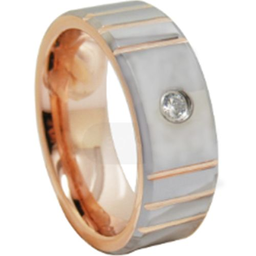 *COI Tungsten Carbide Rose Silver Grooves Cubic Zirconia Ring-6860