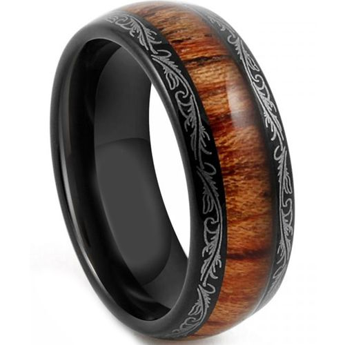 *COI Tungsten Carbide Wood Damascus Dome Court Ring - TG4198