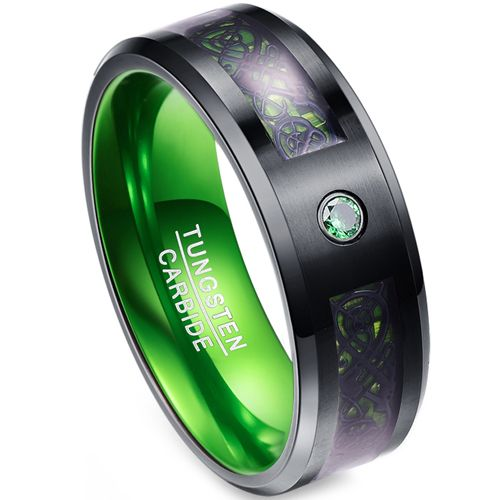 *COI Tungsten Carbide Black Green Dragon Zirconia Ring-TG4017