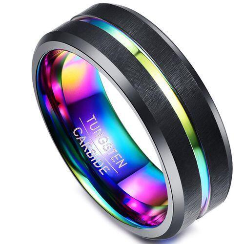 *COI Black Tungsten Carbide Rainbow Pride Ring - TG1414BB