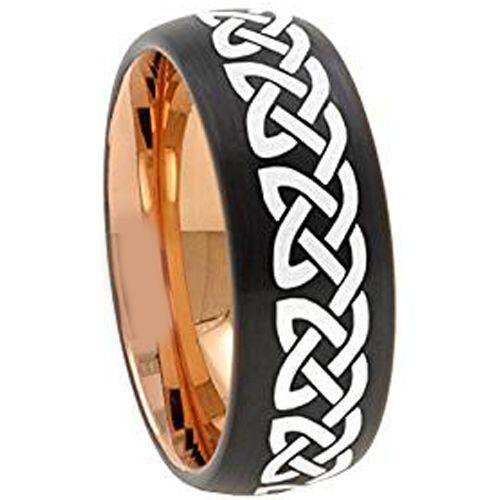 COI Tungsten Carbide Black Rose Celtic Dome Ring - TG157CC