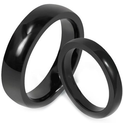 COI Black Tungsten Carbide Dome Court Ring-TG1619