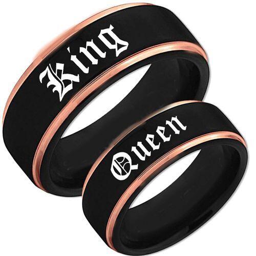 *COI Tungsten Carbide Black Rose King Queen Ring-TG1625