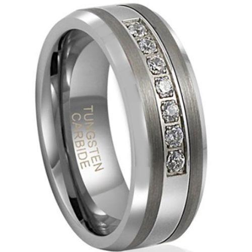 *COI Tungsten Carbide Cubic Zirconia Beveled Edges Ring-TG2125