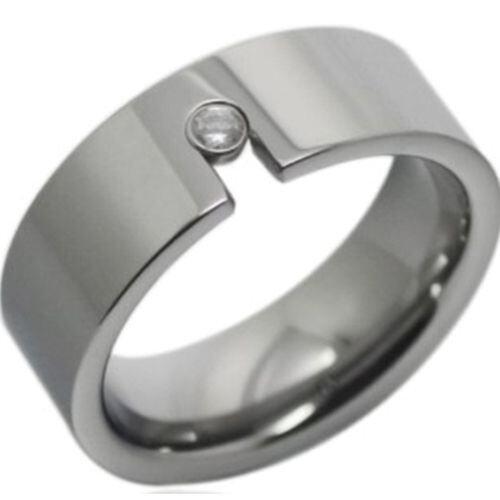 *COI Tungsten Carbide Cubic Zirconia Pipe Cut Ring-TG2401A