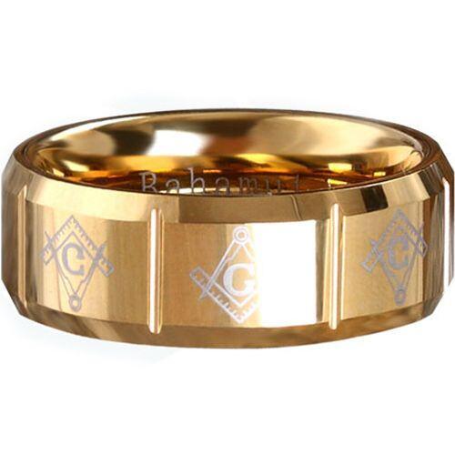 COI Gold Tone Tungsten Carbide Masonic Vertical Groove Ring-TG289