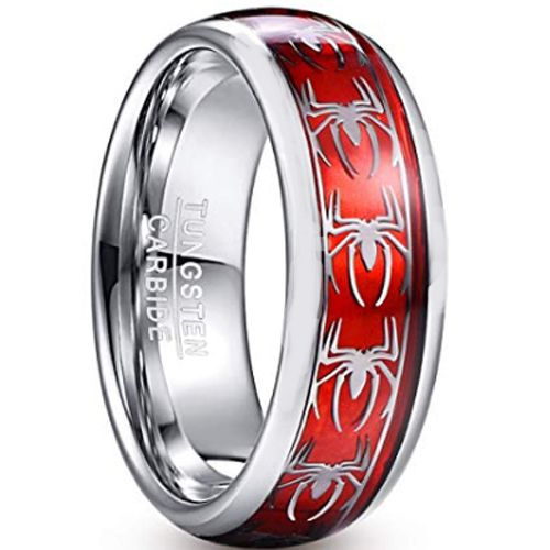 COI Tungsten Carbide Silver Red Spiderman Ring-TG2901AA