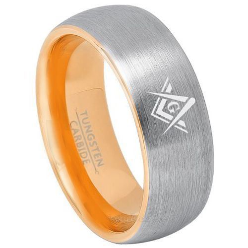 *COI Gold Tone Tungsten Carbide Masonic Dome Court Ring-TG3240