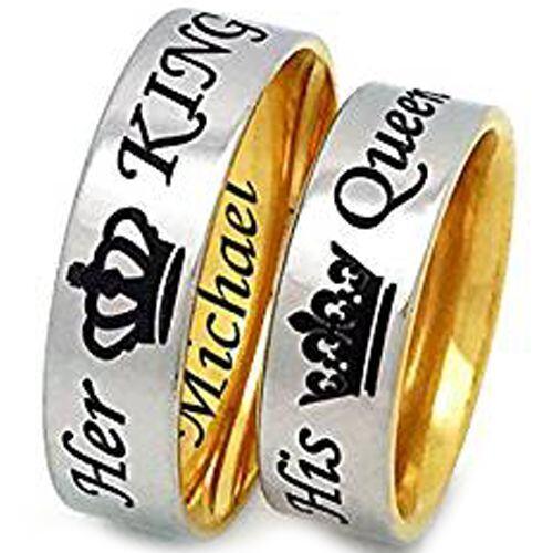 *COI Gold Tone Tungsten Carbide King Queen Crown Ring-TG3294