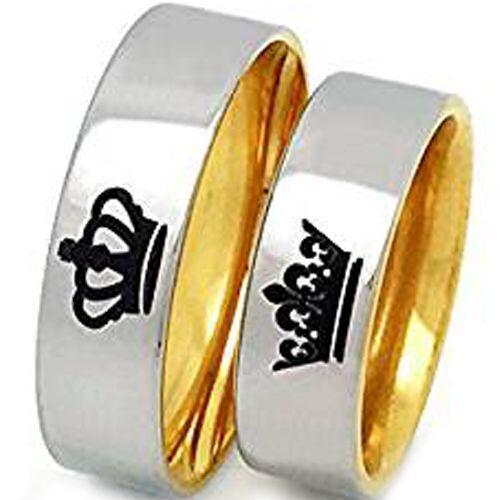 *COI Gold Tone Tungsten Carbide King Queen Crown Ring-TG3512