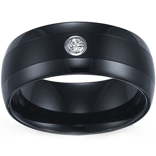 COI Black Tungsten Carbide Ring With Cubic Zirconia-TG3679