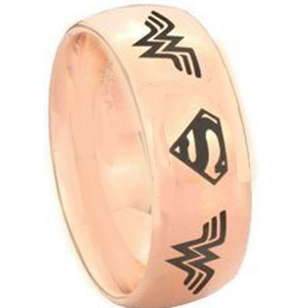 *COI Rose Tungsten Carbide Wonder Woman Superman Ring-TG3893AA