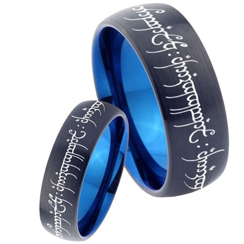 *COI Tungsten Carbide Black Blue Dome Court Lord of The Ring - TG4622