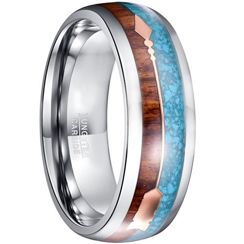 COI Tungsten Carbide Crushed Opal & Wood Ring With Arrows-TG5031