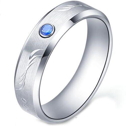 COI Tungsten Carbide Created Sapphire Beveled Edges Ring TG5177