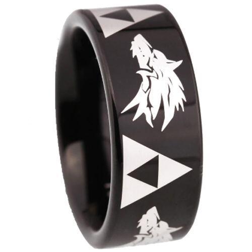 COI Black Tungsten Carbide Legend of Zelda Wolf Ring-TG5211