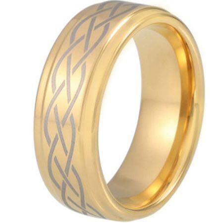 COI Gold Tone Tungsten Carbide Celtic Step Edges Ring-TG5212