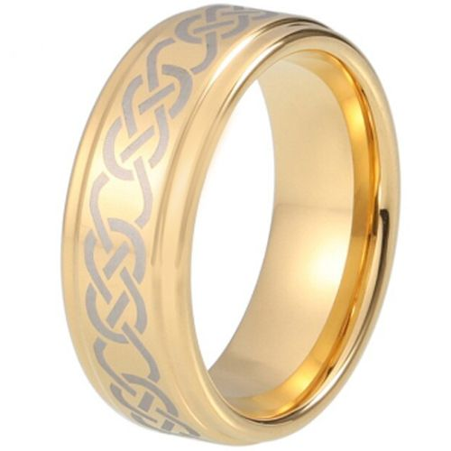 COI Gold Tone Tungsten Carbide Celtic Step Edges Ring-TG5213