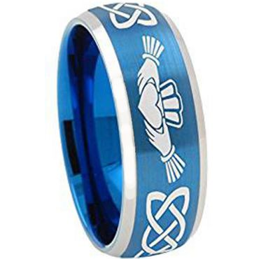 *COI Blue Silver Tungsten Carbide Mo Anam Cara Celtic Ring-TG4334