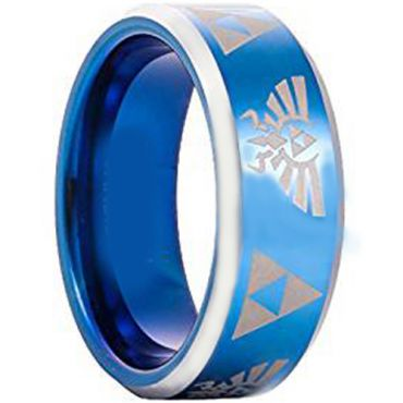 *COI Tungsten Carbide Blue Silver Legend of Zelda Ring - TG3396AA