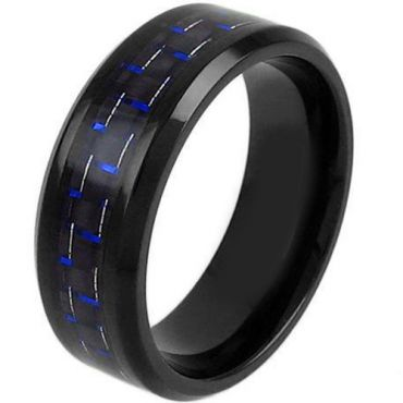 COI Black Tungsten Carbide Ring With Blue Carbon Fiber-TG3791