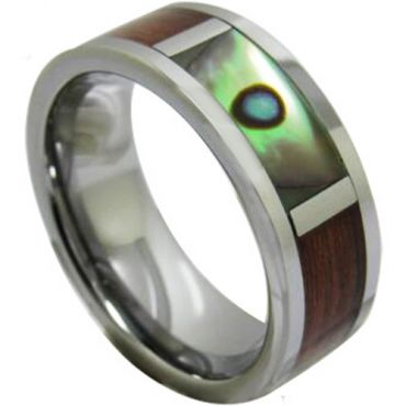 COI Tungsten Carbide Abalone Shell & Wood Ring-TG1224