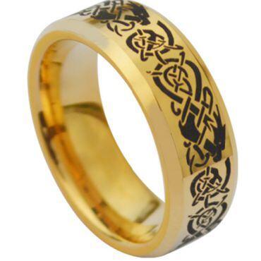 *COI Gold Tone Tungsten Carbide Dragon Beveled Edges Ring-TG3831