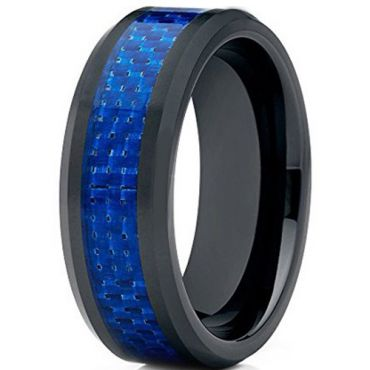 COI Black Tungsten Carbide Ring With Blue Carbon Fiber-TG2423