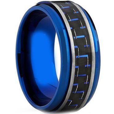 COI Blue Tungsten Carbide Carbon Fiber Step Edges Ring-TG4012