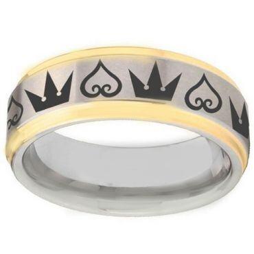 COI Tungsten Carbide Gold Tone Silver Kingdom and Heart Ring-TG1365BB