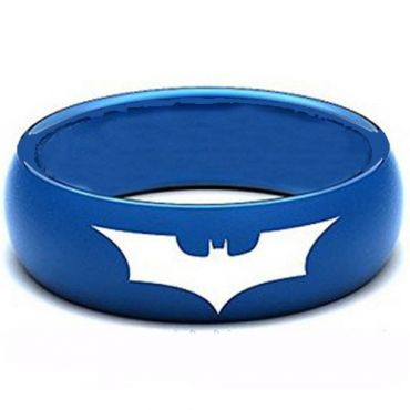 *COI Blue Tungsten Carbide Batman Dome Court Ring-TG3805AA