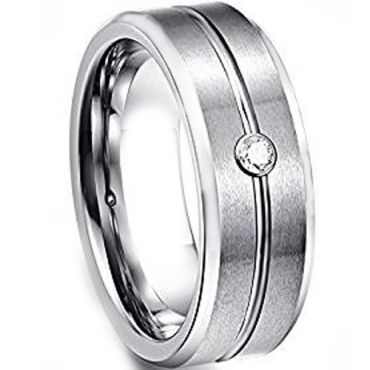 COI Tungsten Carbide Cubic Zirconia Center Groove Ring-TG1449BBB
