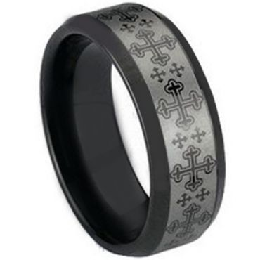 COI Black Tungsten Carbide Cross Beveled Edges Ring - TG1492