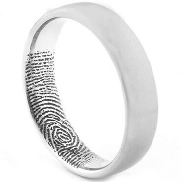 COI Tungsten Carbide Custom FingerPrint Dome Court Ring - TG1531