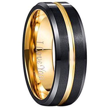COI Tungsten Carbide Black Gold Center Groove Ring - 1561