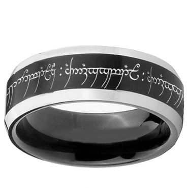 *COI Tungsten Carbide Lord of the Ring Beveled Edges Ring-TG1629B