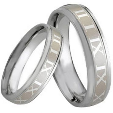 COI Tungsten Carbide Beveled Edges Ring With Roman Numerals-164